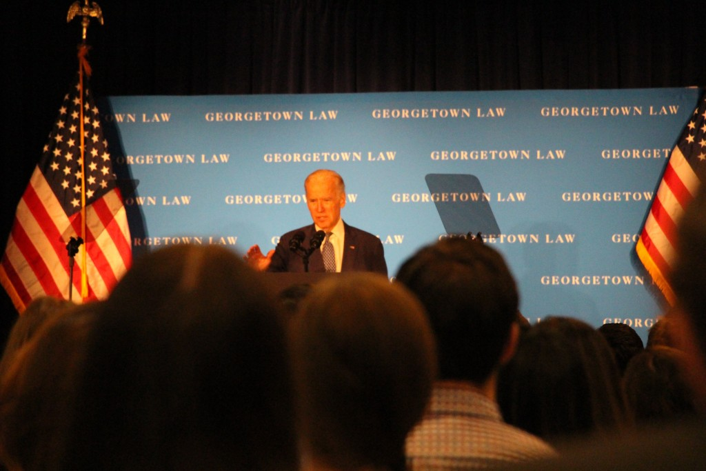 ALY PACHTER/THE HOYA Vice President Joe Biden discussed political dysfunction and the Supreme Court confirmation at the Georgetown University Law Center on Thursday.
