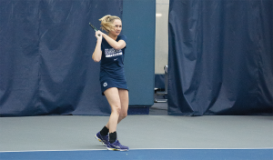 File Photo: Stephanie yuan/THE HOYA Junior Sophie Barnard, pictured, earned a straight set victory in the sixth singles slot in Georgetown's 6-1 victory over Richmond. Barnard and junior Casey Marx did not finish their doubles match, as Georgetown had already won the point.