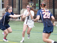 FILE PHOTO: CLAIRE SOISSON/THE HOYA Junior attack Colleen Lovett scored a second consecutive hat trick in Georgetown's 10-5 win over Cincinnati on Saturday. Lovett currently has eight goals and four assists this season.