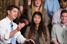 COURTESY GEORGETOWN UNIVERSITY Speaker of the House Paul Ryan (R-Wis.) addressed a full Gaston Hall on Wednesday at a town hall-style event hosted by the Georgetown Institute of Politics and Public Service, stressing the importance of voter engagement among millennials.