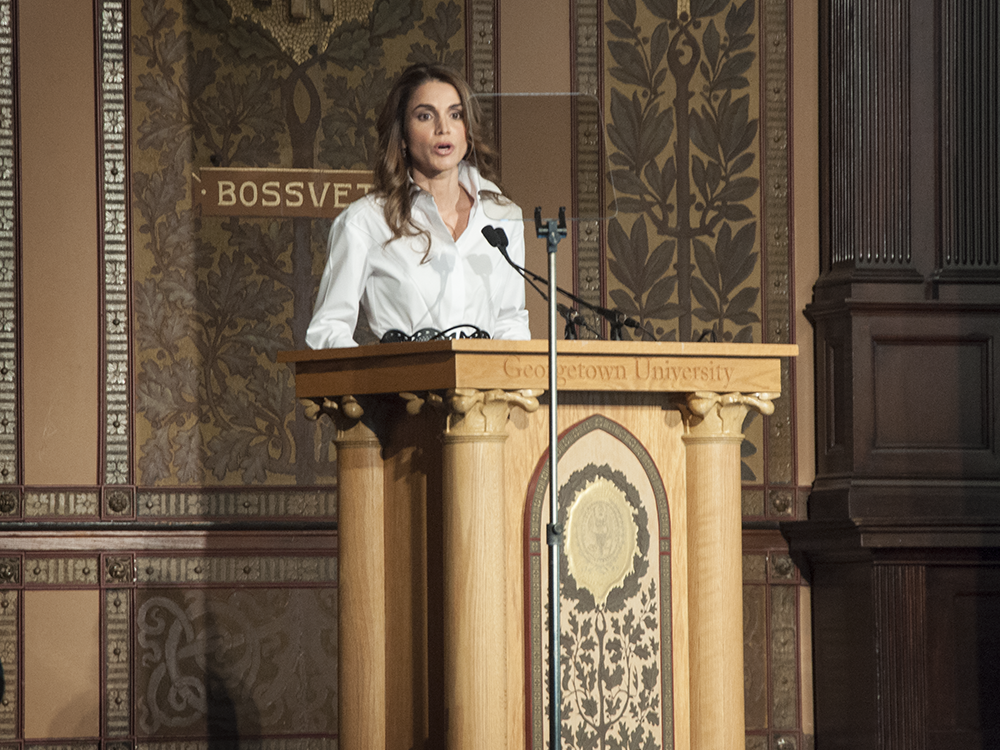 "eliza mineaux/THE HOYA Queen Rania of Jordan introduced the screening of ""Salam Neighbor,"" a documentary on the experience of Syrian refugees in Jordan, in Gaston Hall on Thursday."