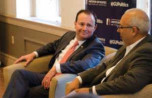 LAUREN SEIBEL/THE HOYA Sen. Mike Lee (R-Utah) discussed the future of conservatism and the Republican Party as well as Donald Trump's success in the 2016 presidential race on Tuesday.