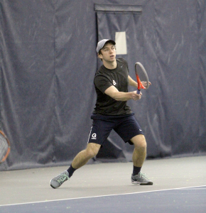 FILE PHOTO: JULIA HENNRIKUS/THE HOYA In the men's tennis team's last competition against Bryant, senior Daniel Khanin fell at first singles in a 6-4, 6-2 decision.