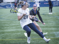NAAZ MODAN/THE HOYA Senior midfielder Kristen Bandos scored one goal in Georgetown's 14-7 loss to Florida. Bandos is second on the team in points with 21 this season and leads the Hoyas with 19 goals.