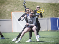 FILE PHOTO: JULIA HENNRIKUS/THE HOYA Senior attack Corinne Etchison scored one goal in Georgetown's 7-5 win over Vanderbilt. Etchison has scored 11 goals this season and leads Georgetown in assists with eight.