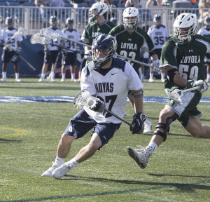 DANIEL KREYTAK/THE HOYA Graduate student midfielder and co-captain Joe Bucci scored one goal and had one assist in Georgetown's loss to Denver.