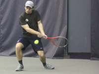 FILE PHOTO: JULIA HENNRIKUS/THE HOYA Senior Daniel Khanin lost in the No. 1 singles spot to his Villanova opponent in a 6-1, 6-2 decision Friday. Georgetown went on to win the match 5-2.