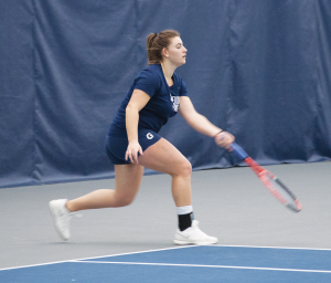FILE PHOTO: STEPHANIE YUAN/THE HOYA Junior captain Victoire Saperstein, pictured, and freshman Risa Nakagawa won their doubles match against Richmond 6-3. The pair is 10-3 this season in doubles play.