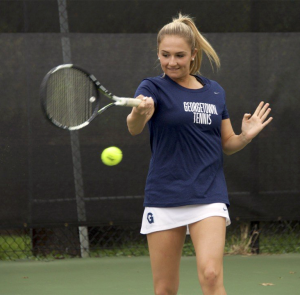 GUHOYAS Junior Sophie Barnard won at the number two singles slot against St. Francis junior Brittany Plaszewski in a 6-2, 6-1 finish in Georgetown's sweeping 5-0 victory Saturday.