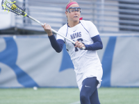 NAAZ MODAN/THE HOYA Senior attack Kelsey Perselay recorded four goals and one assist in Georgetown's 18-7 win over Villanova on Wednesday night.