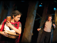 """JINWOO CHONG/THE HOYA Vanessa Chapoy (COL '18) and Daniel Frumento (COL '18) in Mask and Bauble's """"Into the Woods."""""""