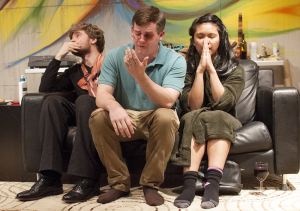 "NAAZ MODAN/THE HOYA Conor Canning (COL '16), Greg Keiser (COL '16) and Cristina Ibarra (COL '17) play Eduardo, Alfred and Melinda in the Nomadic Theatre's ""Happy."""