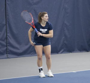 FILE PHOTO: STEPHANIE YUAN/THE HOYA Junior Victoire Saperstein currently holds an 11-2 overall record in singles play this season, playing at the number one singles slot. Saperstein is currently on a six-match singles win streak.