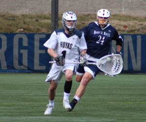 CLAIRE SOISSON/THE HOYA Sophomore goalkeeper Nick Marrocco made 10 saves in Georgetown's 9-8 loss to Marquette last Saturday. Marrocco has made 93 saves this season for a save percentage of .495.