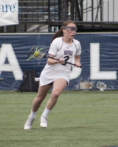 CLAIRE SOISSON/THE HOYA Junior attack Colleen Lovett scored a hat trick in Georgetown's 18-7 win over Villanova. She has scored five goals so far this season.