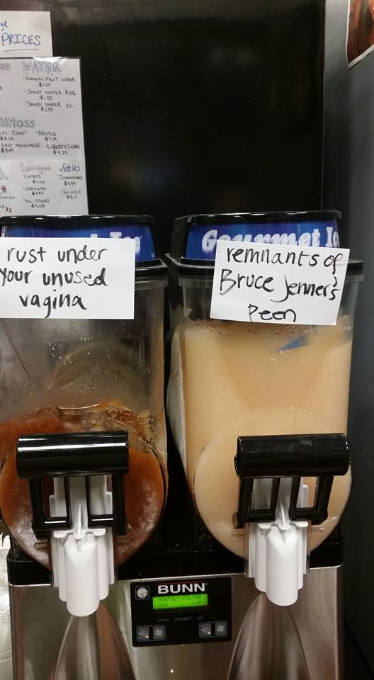 REUBEN ATKINS Students of Georgetown, Inc. storefront Hoya Snaxa has been criticized for signs posted on its slushie machines.