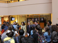 COURTESY ESMI HUERTA Around 30 students delivered a letter to the School of Foreign Service Dean's Office on Monday requesting that the university rescind Secretary of Homeland Security Jeh Johnson's invitation to speak at the SFS commencement.