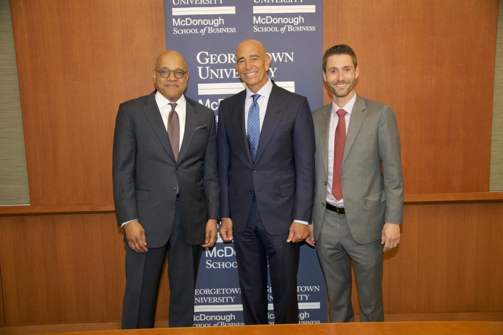 COURTESY RAFAEL SAUNES From Left: McDonough School of Business Dean David Thomas, Tom Barrack Jr. of Colony Capital, Inc., Steers Center Director Matthew Cypher