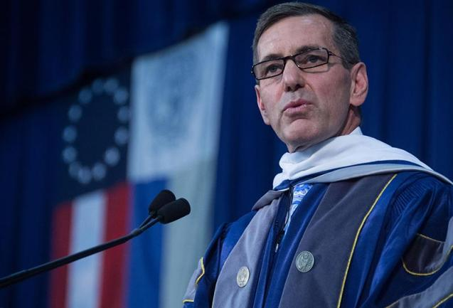GEORGETOWN UNIVERSITY Humana President and CEO Bruce Broussard emphasized the need for work-life balance in his commencement address to undergraduates in the McDonough School of Business on Saturday.