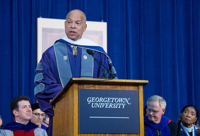 GEORGETOWN UNIVERSITY Secretary of Homeland Security Jeh Johnson reflected on the difficulty of making moral and critical decisions in government at the School of Foreign Service commencement address on Saturday.