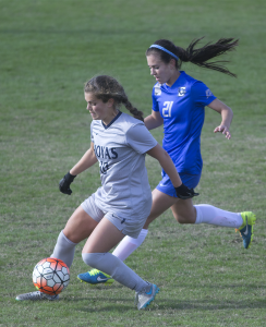 FILE PHOTO: CAROLINE KENNEALLY/THE HOYA Junior midfielder Rachel Corboz is the team leader in points with 13. She has five goals and four assists this season.