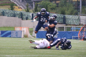 File Photo: Isabel Binamira/THE HOYA Junior cornerback and co-captain David Akere made four tackles Saturday. He has forced one fumble, recovered one fumble and has 11 total tackles this season as a starter on the team's defense.