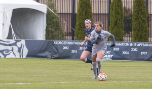 FILE PHOTO: Jenna Chen/The HOYA Junior midfielder Rachel Corboz had a set piece goal from 25 yards out on Sunday. She is tied for the team-high in goals scored with seven and is the team leader in both assists and points with six and 20, respectively.