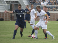 GENEVIEVE GRESSER/THE HOYA Senior forward Brett Campbell had four shots in Saturday's 2-0 loss to Xavier. He has four points, two goals and 14 shots on the season.
