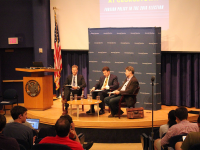 COURTESY ALEXANDER HAMILTON SOCIETY Senior Associate Dean of the School of Foreign Service Daniel Byman and George Mason University professor Colin Dueck debated about the strengths and weaknesses of President Barack Obama's foreign policy at the Alexander Hamilton Society's first event last Tuesday.