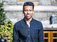 DANIEL KREYTAK/THE HOYA Luis Rosales (MSB '18), a student who immigrated from El Salvador, received a full-ride scholarship from the Jack Kent Cooke Foundation, allowing him to transfer to Georgetown from Montgomery College this year.