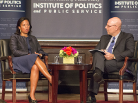 "claire soisson/the hoya GU Politics hosted National Security Adviser Susan Rice at an event moderated by SFS Dean Joel Hellman to discuss her position in the first of the ""Exit Interview"" series — dedicated to examining Obama's legacy."