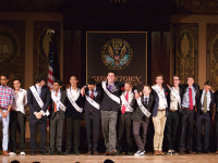 claire soisson/THE HOYA GUPride has apologized for its handling of race in its club after its Mr. Georgetown candidate, fifth from right, was criticized for a spoken word poem on race he performed.