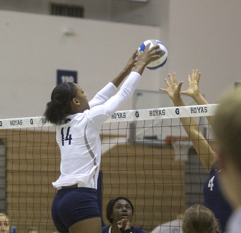 FILE PHOTO: ERICK CASTRO/THE HOYA Sophomore middle blocker Symone Speech had 14 kills in Georgetown's straight-set victory over Villanova. Speech was named to the Big East Honor Roll this week.