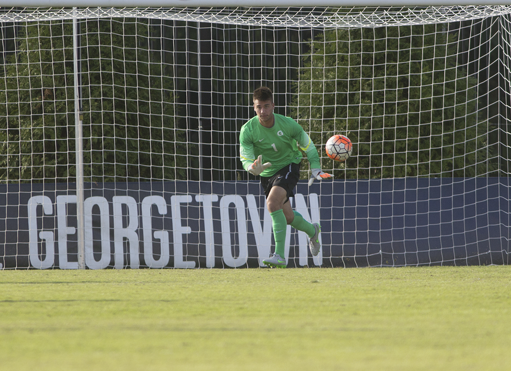 NAAZ MODAN/THE HOYA Sophomore goalkeeper J.T. Marcinkowski had four saves in Saturday's 2-0 loss against Xavier. He has 41 saves and has allowed eight goals in eight games this season.