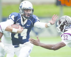 GEORGETOWN ATHLETICS Senior quarterback Tim Barnes appeared in five games last season and threw for 79 yards total. He also rushed for 47 yards and is this year's recipient of the No. 35 Joe Eacobacci Memorial Jersey.