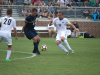 FILE PHOTO: jenna chen/THE HOYA Senior forward Brett Campbell scored one goal in Tuesday's 3-1 win against American. Campbell has a team-high three goals this season and has played and started in all nine games, recording 19 shots.