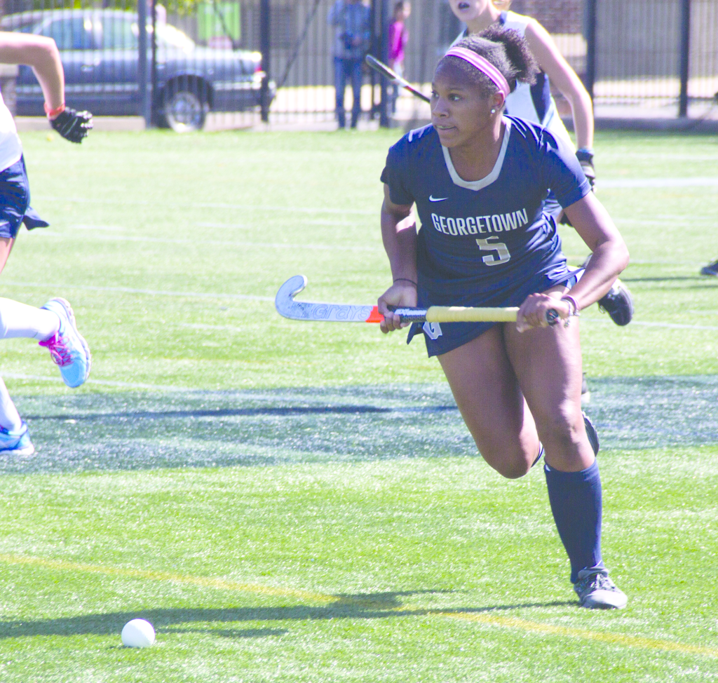 FILE PHOTO: LAUREN SEIBEL/THE HOYA Senior forward Aliyah Graves-Brown has a team-high two goals and two assists this season. She has taken 13 shots and leads the team with six points.