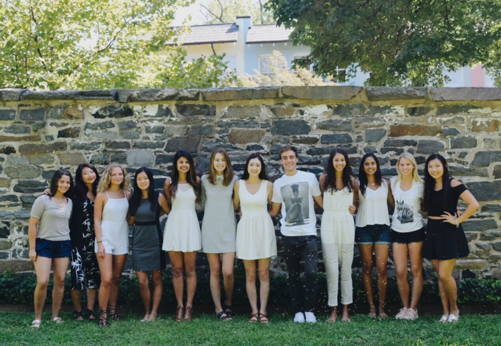 COURTESY DRESSMATE Dressmate is a company aimed at creating a social network of college women who share formal clothing. Co-founder Christine Young (SFS '18) (far right) is shown here with the Georgetown Dressmate team.