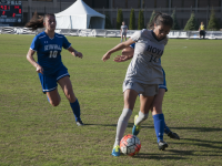 FILE PHOTO: ELIZA MINEAUX/THE HOYA Junior midfielder Chloe Knott, number 14, grew up in Auckland, New Zealand. She was the captain of her high school soccer team from 2010 to 2013. At Georgetown, she has appeared in 44 games and has seven career assists.