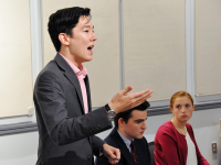 """LUAN TIAN FOR THE HOYA GU College Republican Peter Hamilton member (SFS '20) represented GUCR at the annual """"Freshman Debate."""" Student Democrats have supported Clinton, while Republicans are conflicted over Trump."""
