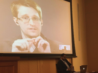 COURTESY BHAVYA JHA The GU Lecture Fund hosted former National Security Agency employee Edward Snowden, who called in via Skype from Russia, for the second time Wednesday.