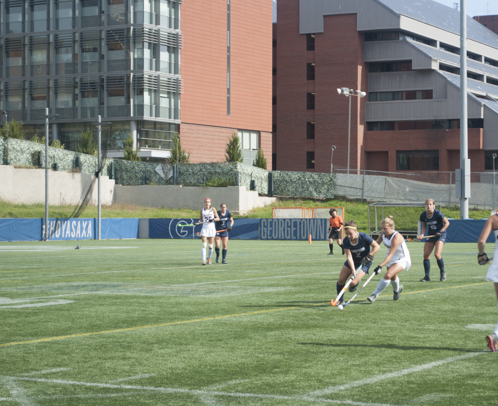 FILE PHOTO: JENNA CHEN/THE HOYA Junior midfielder Meghan Parsons, third from left, tied a career high with three points in Sunday's 4-2 win against Longwood. She scored one goal and recorded one assist.