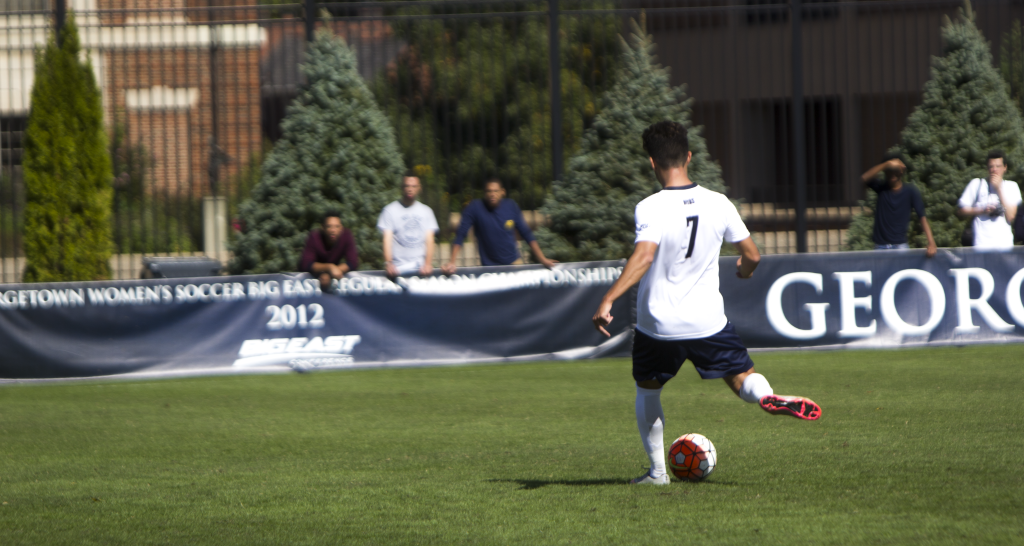 FILE PHOTO: JENNA CHEN/THE HOYA Junior midfielder Arun Basuljevic scored one goal against Butler on Saturday. Basuljevic is second on the team in goals with two and points with four.