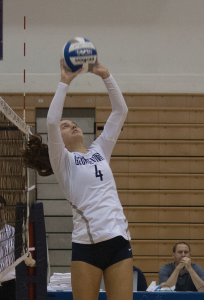 FILE PHOTO: SOPHIE FAABORG-ANDERSON/THE HOYA Sophomore setter Paige McKnight recorded seven kills in Sunday's 3-1 loss. She has 61 kills this season.