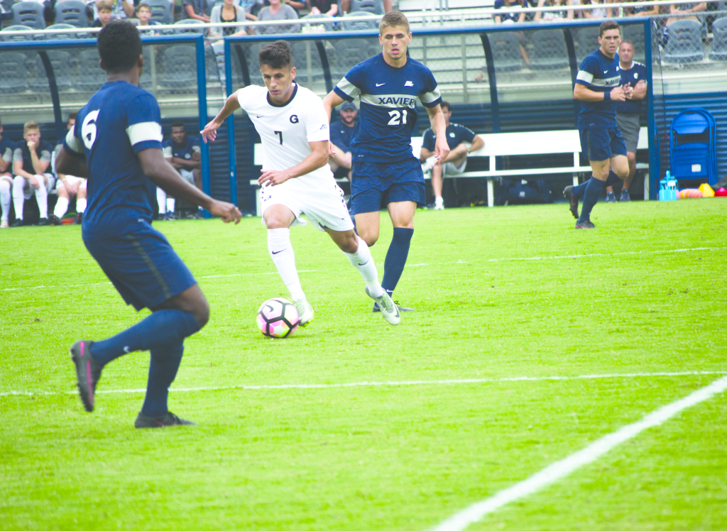 FILE PHOTO: JENNA CHEN/THE HOYA Junior midfielder Arun Basuljevic assisted on the Hoyas' only goal of the game against  the Musketeers. He has two goals and one assist so far this year.