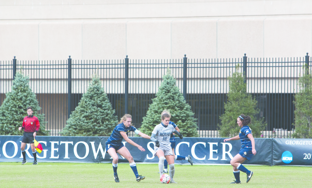 FILE PHOTO: JENNA CHEN/THE HOYA Junior midfielder Rachel Corboz tallied one goal and one assist against Villanova on Wednesday. She has eight goals and eight assists on the year and leads the team in points with 24.