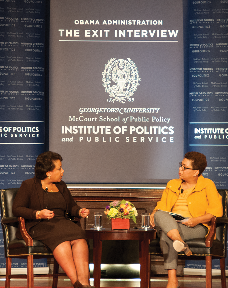 "YEON CHO FOR THE HOYA U.S. Attorney General Loretta Lynch discussed a national data collection program in her ""Exit Interview."""