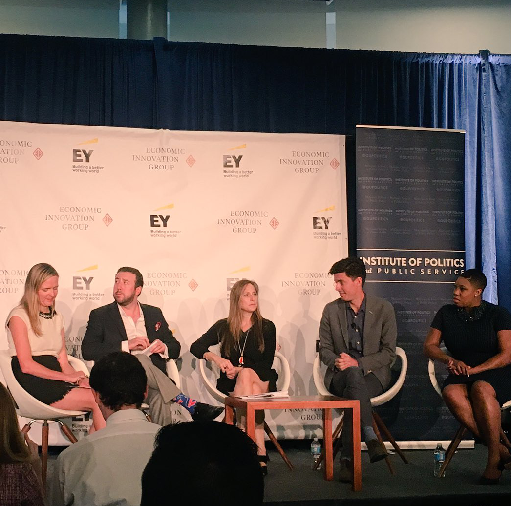 GU POLITICS Moderator Michelle Jaconi  (SFS '96, GRD '97), left, and panelists Steve Glickman, Cathy Koch, Tim Miller and Symone Sanders spoke at an event co-hosted by GU Politcs, Ernst & Young and the Economic Innovation Group.