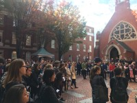 JEANINE SANTUCCI/THE HOYA Members of the Georgetown community gathered Wednesday in Dahlgren Quadrangle for an interfaith service following President-Elect Donald Trump's victory over former Democratic nominee Hillary Clinton.