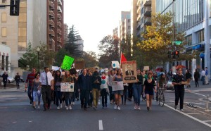 SAMANTHA PANCHÈVRE/STUDENTS FOR CLIMATE SECURITY Students marched from Red Square to Myron Ebell's L Street office Nov. 18 to protest Ebell's heading of President-elect Donald Trump's Environmental Protection Agency transition team.